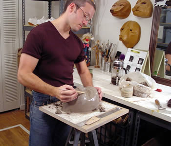 Jonathan working in his studio