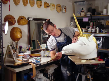 Jonathan Becker creating a custom theater mask