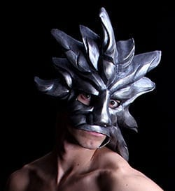 Silver Sun Mardi Gras Mask, Modeled