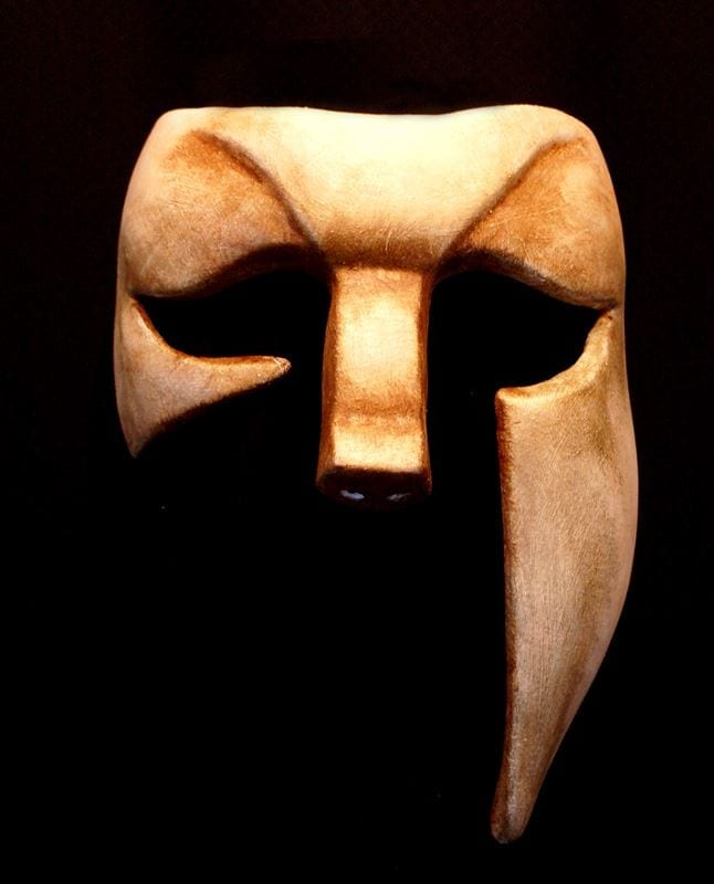 Greek Theater Mask, Bone White, Front View