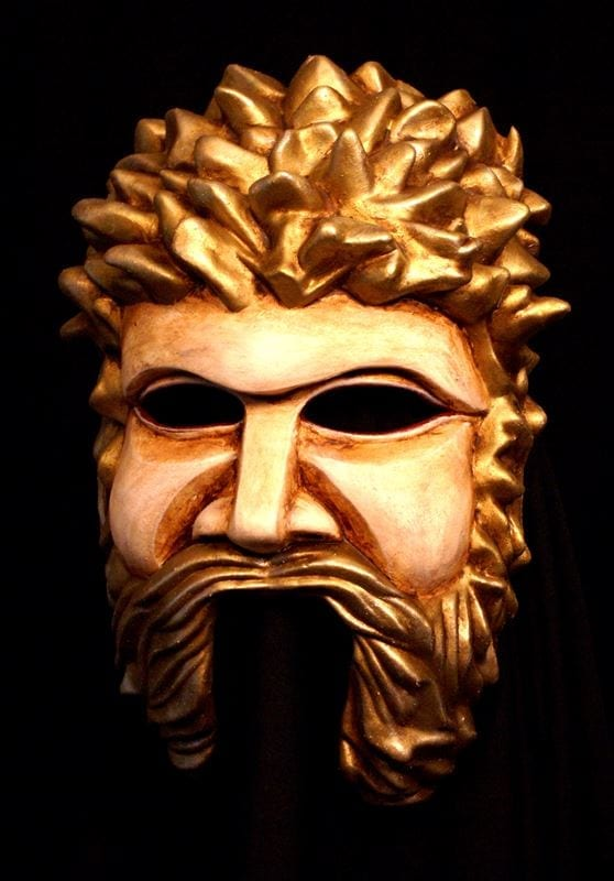 Greek God Theater Half Mask - Bone White