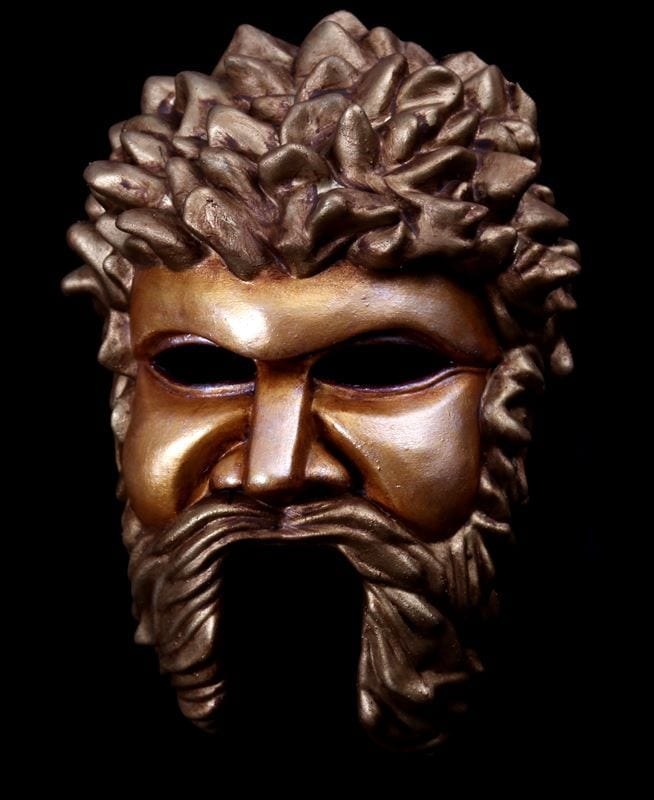 Greek God Theater Half Mask - Gold