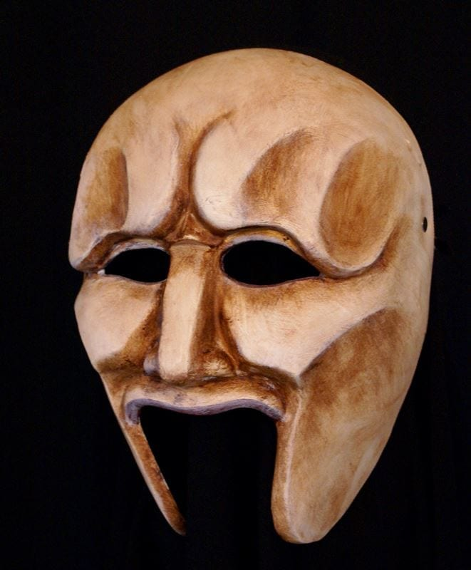 Medea Chorus Half Mask - Bone White
