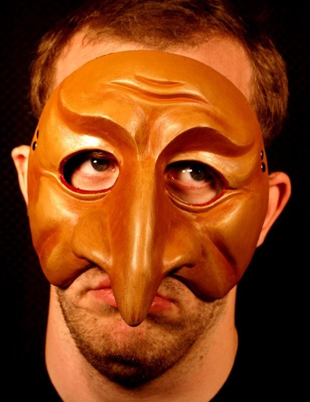 Coviello, Commedia Half Mask, Modeled