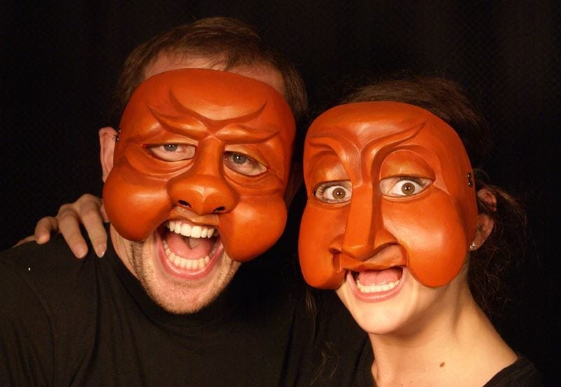 Truffeldino & Smeraldina, Commedia Half Masks, Modeled