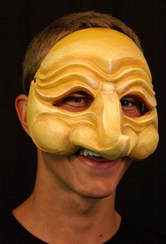 Zanni, Commedia Half Mask 5, Modeled