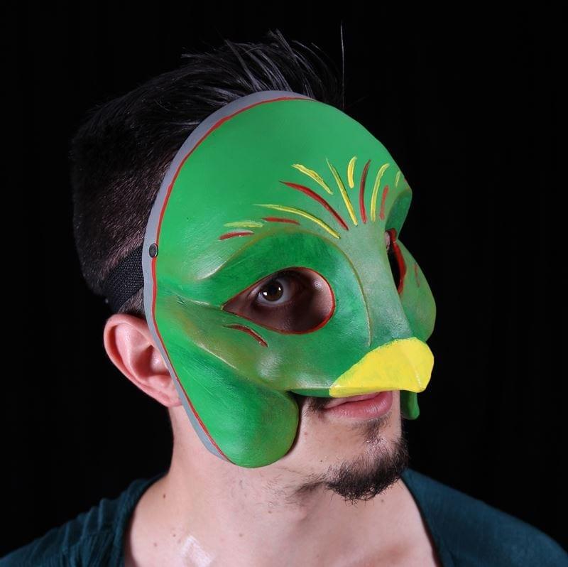 Modeled Ethnic Questzal Bird Character Half Mask 2