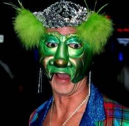 Modeled Greenster Mardi Gras Half Mask