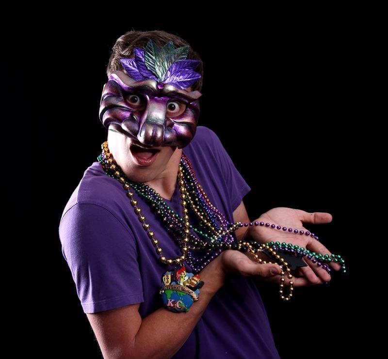 Captain Mardi Gras Half Mask, Modeled