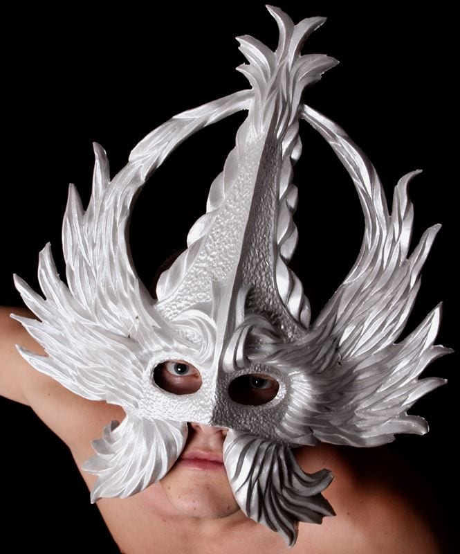 Crowned Glory Mardi Gras Half Mask, Pearled White, Modeled