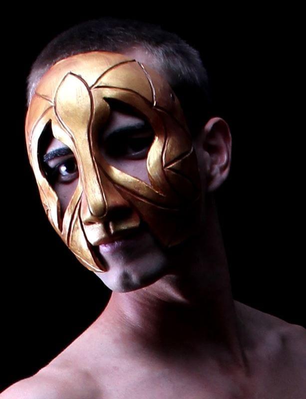 Golden Gras Man Mardi Gras Half Mask, Modeled