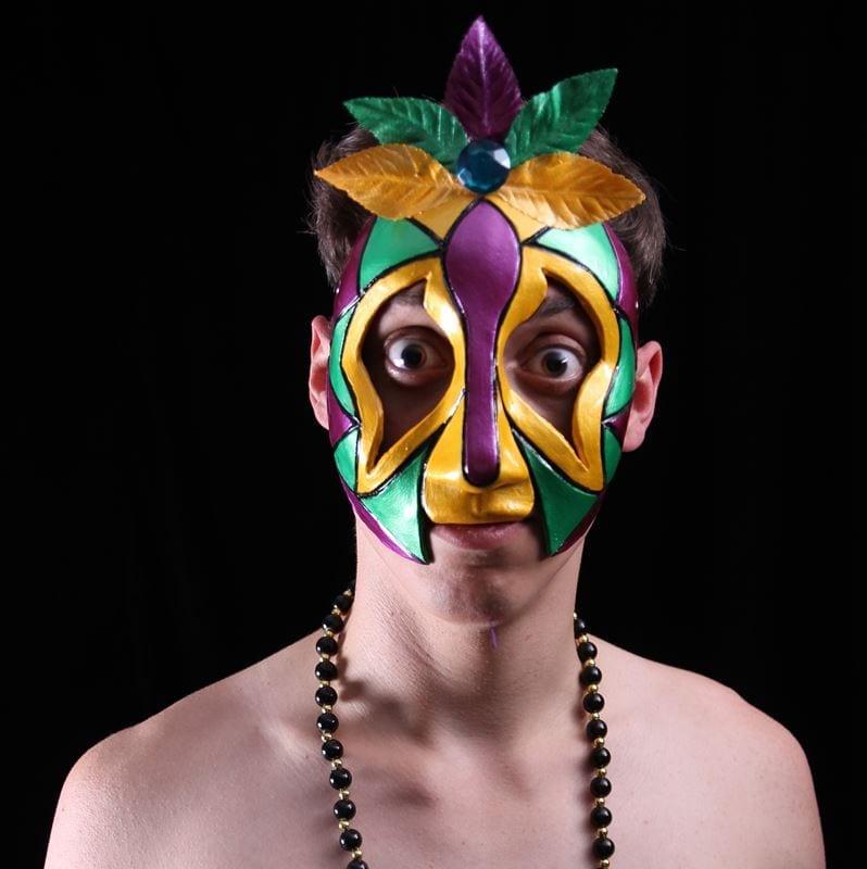 Madis Gras Half Mask: Gras Man, Modeled