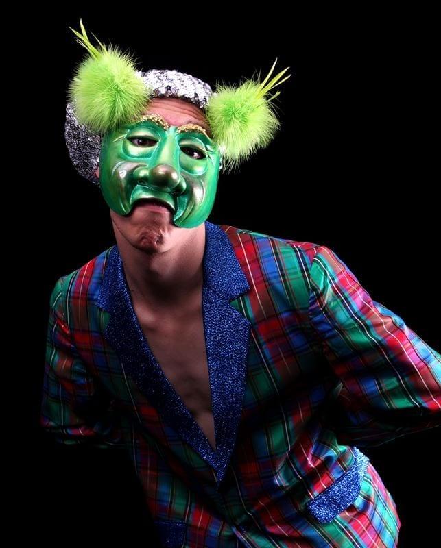 Greenster Mardi Gras Half Mask, Modeled