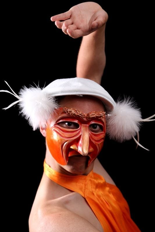 Mango Man Mardi Gras Half Mask, Modeled
