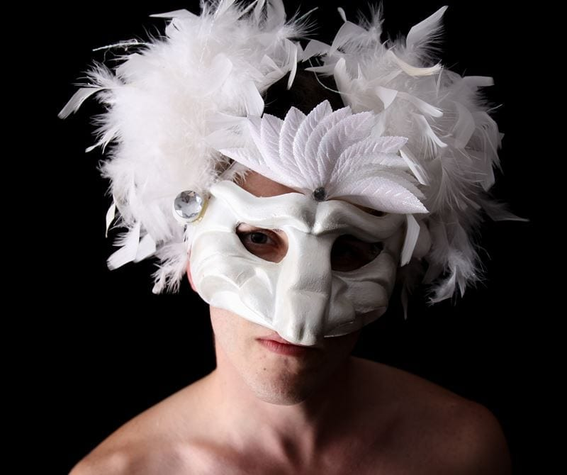 White Party Capitano Half Mask, Modeled, View 1