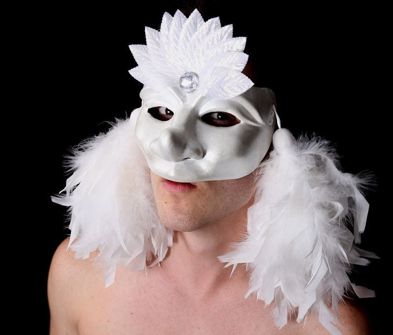 White Party Cintia Half Mask, Modeled, View 1