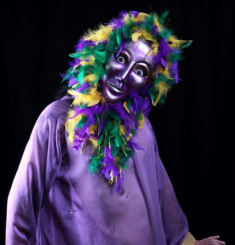 Purple Volto Mardi Gras Mask, Modeled