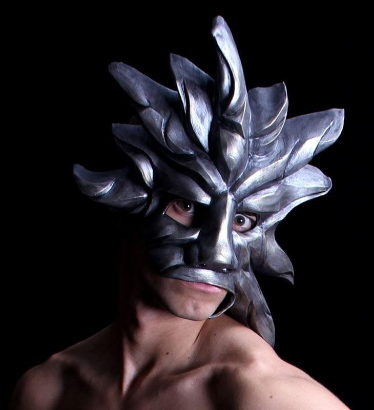 Silver Sun Mardi Gras Mask, Modeled