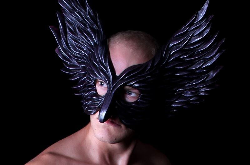 Winged Glory Mask, Black, Modeled