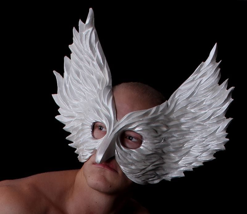 Winged Glory Mask, White, Modeled