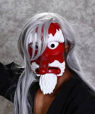 mr karate mask red mask with white beard and grey wig